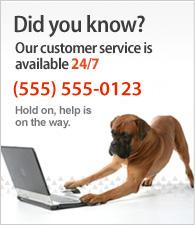 Onze Klantenservice is 24 uur per dag bereikbaar. Bel ons op nummer (020) 1234567.